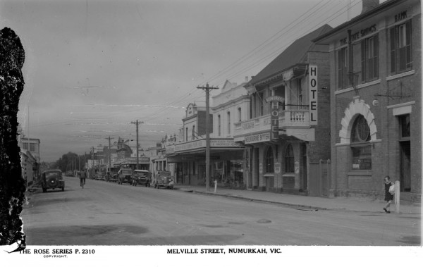 Numurkah (the SSB is the building on the far right - with the young girl standing outside)