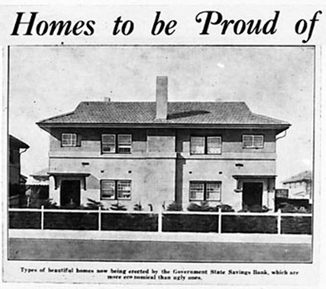 a Victorian semi detached house entitled_Homes to be Proud_of being built by the Government State Savings Bank