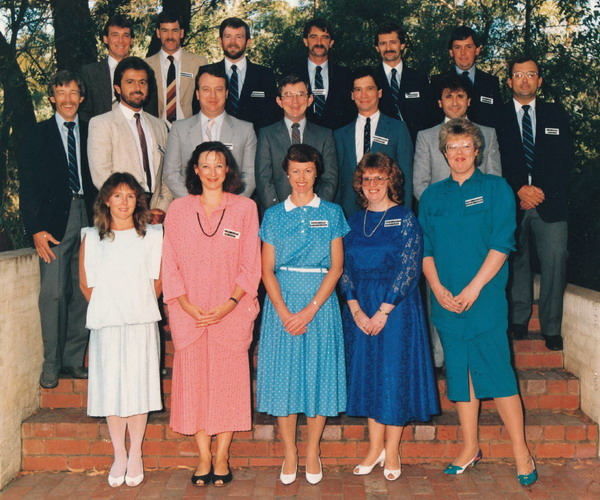 Accountants course 16 - 26 Feb 1987 Back row: Peter Henderson, Tim Stewart, Martin Gilbert, Wayne Byrne, Colin Swierzbiolek, Terry Kays, Ian Lawson Middle row: Max Dow, Chris Farrrington, Kevin Chitty, Paul Curry, Gordon Gaudion, Con Crocaris Front row: Faye Humphrey, Vicki Wilson, Sharon Ford, Robyn Lanston, Janet Robinson